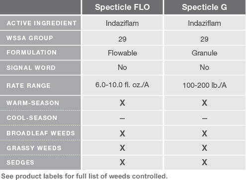 Specticle FLO and Specticle G Chart